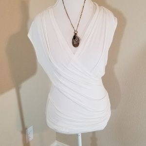 Adrianna Papell faux wrap blouse small